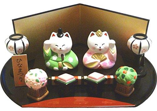 【 ねこのひな祭りセット 】 かわいい猫の雛人形です  【陶...