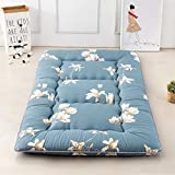 Magnolia Flower Blue Futon Tatami Mat Japanese Futon Mattress Cheap Futons for Sale Idea Present for Kids, 90cm x 200cm (35.4