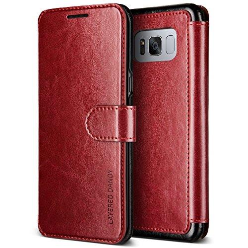 Galaxy S8 ケース 手帳型 VRS DESIGN Dandy Layered マグネット 式 ベルト 手帳 レザー カバー [ ギャラクシーS8 専用 ] ワインレッド×ブラック