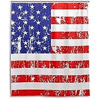 マキク(MAKIKU) シャワーカーテン 防カビ おしゃれ リング付属 星条旗 アメリカ国旗柄 バスカーテン 防炎 環境にやさしい 目隠し洗面所 間仕切り 取付簡単 150x180