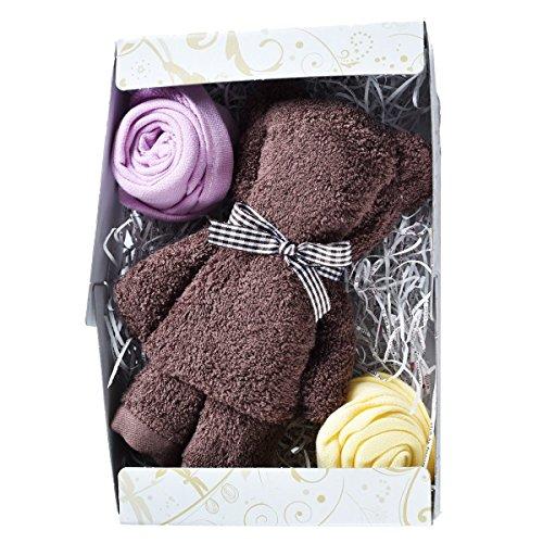 ブルーム 今治タオル タオルベア ギフトセット ベア&お花 (ブラウン) G_茶熊1