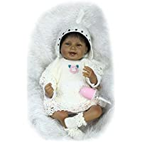NPKDOLL Rebornベビー人形インディアンスタイルブラックスキン22インチ55 cmシミュレーションソフトSiliconeビニールLifelike Vivid Boy Girl Toyスマイルホワイトドレス