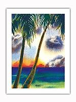 空中に音楽があります - ハワイアンサンセット - オリジナルハワイ水彩画から によって作成された ペギー チュン -プレミアム290gsmジークレーアートプリント - 46cm x 61cm