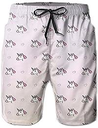 ピンクのユニコーン メンズ サーフパンツ 水陸両用 水着 海パン ビーチパンツ 短パン ショーツ ショートパンツ 大きいサイズ ハワイ風 アロハ 大人気 おしゃれ 通気 速乾