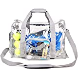 Heavy Duty Clear Duffel Gym Sport Bag with Shoe Compartment Padded Bottom Removable Shoulder Strap for Travel Work School Student Sports Workout Fitness Training Swimming Trainer Swimmer (Gray)