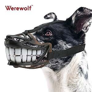 犬マスク Werewolf 口輪 犬用 セーフティマスク 拾い食い防止 無駄吠え防止器具 ソフト (L, 笑顔)