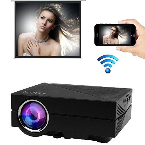 EZAPOR GM60A 無線Wi-Fi機能追加 LEDプロジェクター800ルーメン サポートする解像度1080×1920 VGA/HDMI/USB/HDMI対応 リモコン付き ブラック