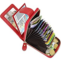 1Pcs RFID Business Card Case Purse Wallets Leather Credit Card Holders Accordion Style with Full Zippe 12 Slots for Men Women Red