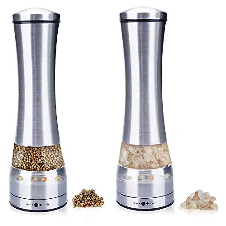 [ 2 本 セット ] ペッパー グラインダー 、 Flycool 2 の 1 調節可能な 手動 ステンレス 鋼 の 塩 と コショウ ひき セット