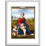 ラファエロ「ベルヴェデーレの聖母 Madonna in the Meadow. 」 インテリア アート 絵画 プリント 額装作品 フレーム:装飾(白) サイズ:L (412mm X 527mm)