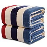 Homehalo  マイクロファイバー毛布 ブランケット フランネル毛布 暖か 柔らか ベッドスロー ベッド ソファー用 オフィス用 ひざ掛け 大判 保温性に優れた (150x200CM, スタライプ)