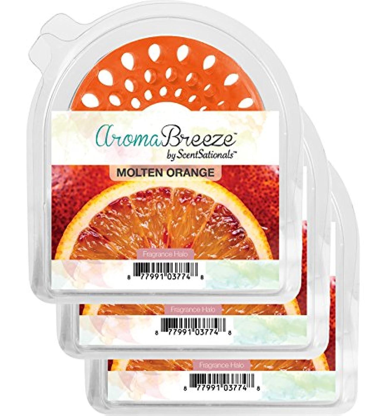 集計ハンディキャップキャンドルZen Aroma Breeze 香り付きヘイロー 3個パック - 無炎の香り付きキャンドルの交換用 - ご自宅の香りコレクションに加えるのに最適 オレンジ 021-017-40017