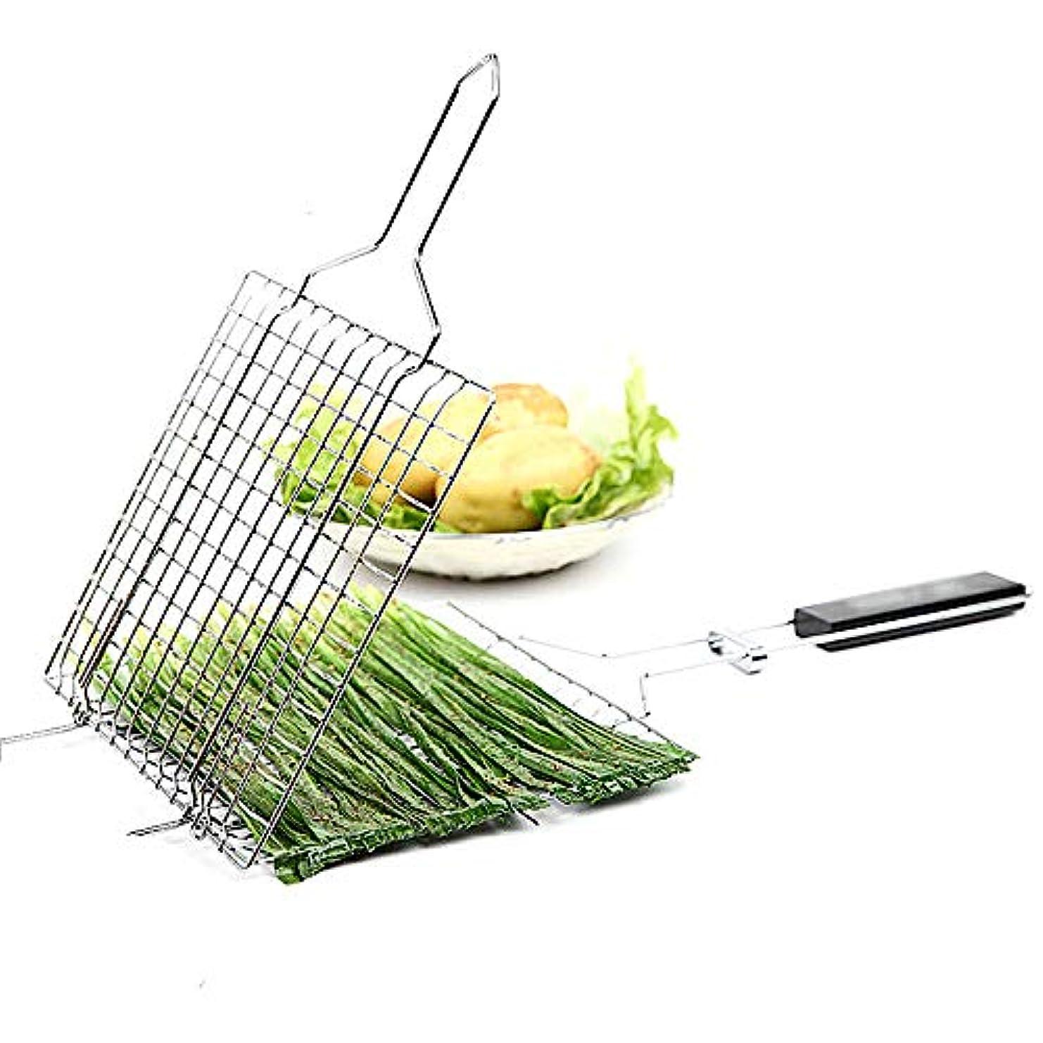 必要とするメガロポリス予見するポータブルバーベキューネット、バーベキューグリルバスケットステンレス鋼非スティックグリルバスケット魚野菜ステーキグリルマット