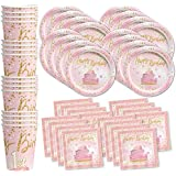 Pink and Gold 1st Birthday Party Supplies Set Plates Napkins Cups Tableware Kit for 16
