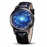 MINILUJIA LEDタッチスクリーンウォッチ ユニークなウィッシュツリーブレーン/ブルーの星空/シンプルなブラックの文字盤 腕時計 柔らかいレザーベルト ブラックバンド men's standard 星空