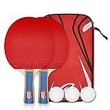 卓球 ラケット ポータブル ラケット2本 ピンポン球3個 卓球セット 収納袋付き 手軽 (セット) (ラケット)