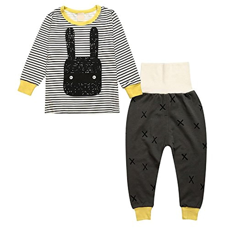 子供服 キッズ ホーム ウェア 長袖 パジャマ グレー ストライプ 上下セット ズボン 柔らかい (110)