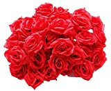 【19blue】 バラ 造花 50個 8cm ブーケ ローズ 結婚式 装飾 (赤色)