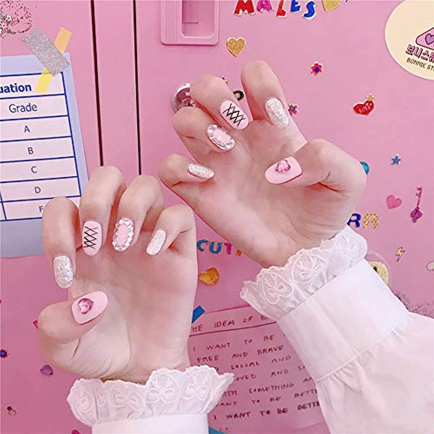 バッテリー窓海港XUTXZKA ピンク色の偽の釘女性ファッション偽ネイルネイルアートのヒント