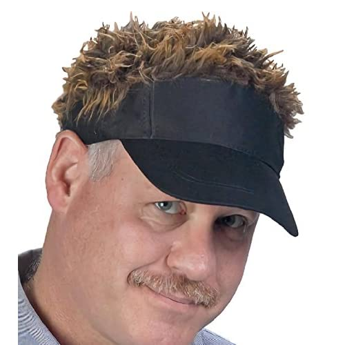 【 フサフサ髪の毛 フレア バイザー 】(DOLCE LUCCI) フレアー ウィッグ 付 ヘアー ハゲ かつら サンバイザー ゴルフ 釣り アウトドア ジョークグッズ (ブラック×ブラウン)