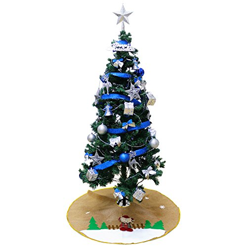 DABADA(ダバダ) クリスマスツリー DXセット 全3色 LEDイルミネーションライト 13種類のオーナメント付 (150cm ブルー)