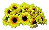 イベント パーティー 夏の 結婚式 夏祭りなどの 飾りつけ ディスプレイや ハンドメイドに 造花の かわいい ひまわり(花のみ) たっぷり 100個セット (直径6~7cm)