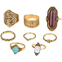 VPbao 8pcs Women Bohemian Ring Set Crystal Retro Carving Joint Knuckle Rings