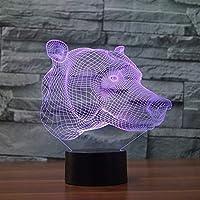 クマヘッドナイトライト、3Dテーブルランプ7色カラーLEDライト、スマートタッチ、リモコン3D子供用ナイトライトレディースクリスマスギフト子供女の子
