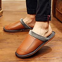 Cotton Slippers Winter Indoor Home Non-Slip Waterproof PU Leather Home Household Male Slippers (Color : Black, Size : 41-42) No brand (Color : Brown, Size : 41-42)