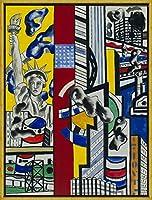 フレーム Fernand Leger ジクレープリント キャンバス 印刷 複製画 絵画 ポスター(映画的壁画研究IIのための研究) #XLK