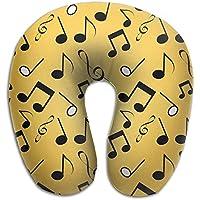 U字型枕 ネックピロー ブラック音符 ソフト 首枕 飛行機 オフィス トラベル 旅行用 ビジネス 出張 車内 昼休み 休憩 安眠 携帯枕