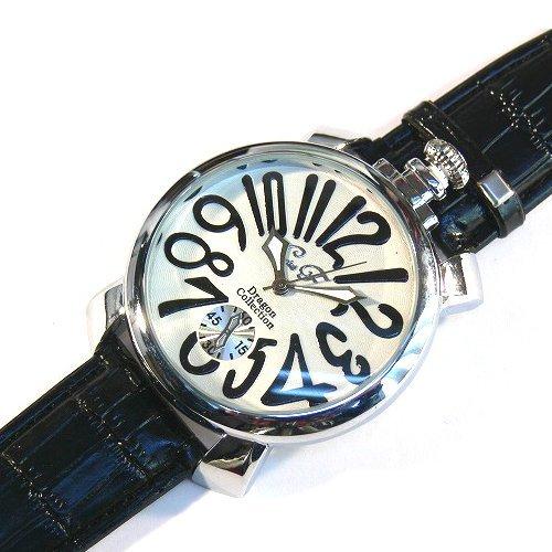 ホワイト×ブラック(A) トップリューズ式ビッグフェイス腕時計 マットタイプ47mm GaGa MILANO ガガミラノ好きに(全8色)
