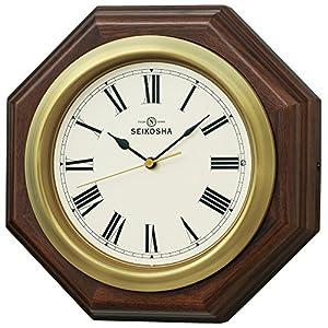 セイコークロック 置き時計・掛け時計 茶木地 27.8×27.8×9cm 125周年記念 衛星 電波 アナログ GP301B