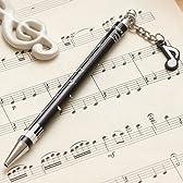 Pianoline 8分音符チャーム付きボールペン(音楽記号&鍵盤柄)