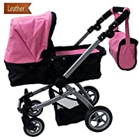 Babyboo Luxury Leather Look Doll Pram with Swiveling Wheels & Adjustable Handle and Free Carriage Bag - 9651B Pink [並行輸入品]