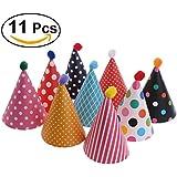 NUOLUX Cake Birthday Party Cone Hats with Pom Poms,11pcs