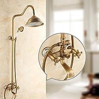 浴室のシャワーセット 完全な銅のバスルームホットとコールドレトロな蛇口アメリカンスタイルのノズル模造古代シャワーセット入浴装置