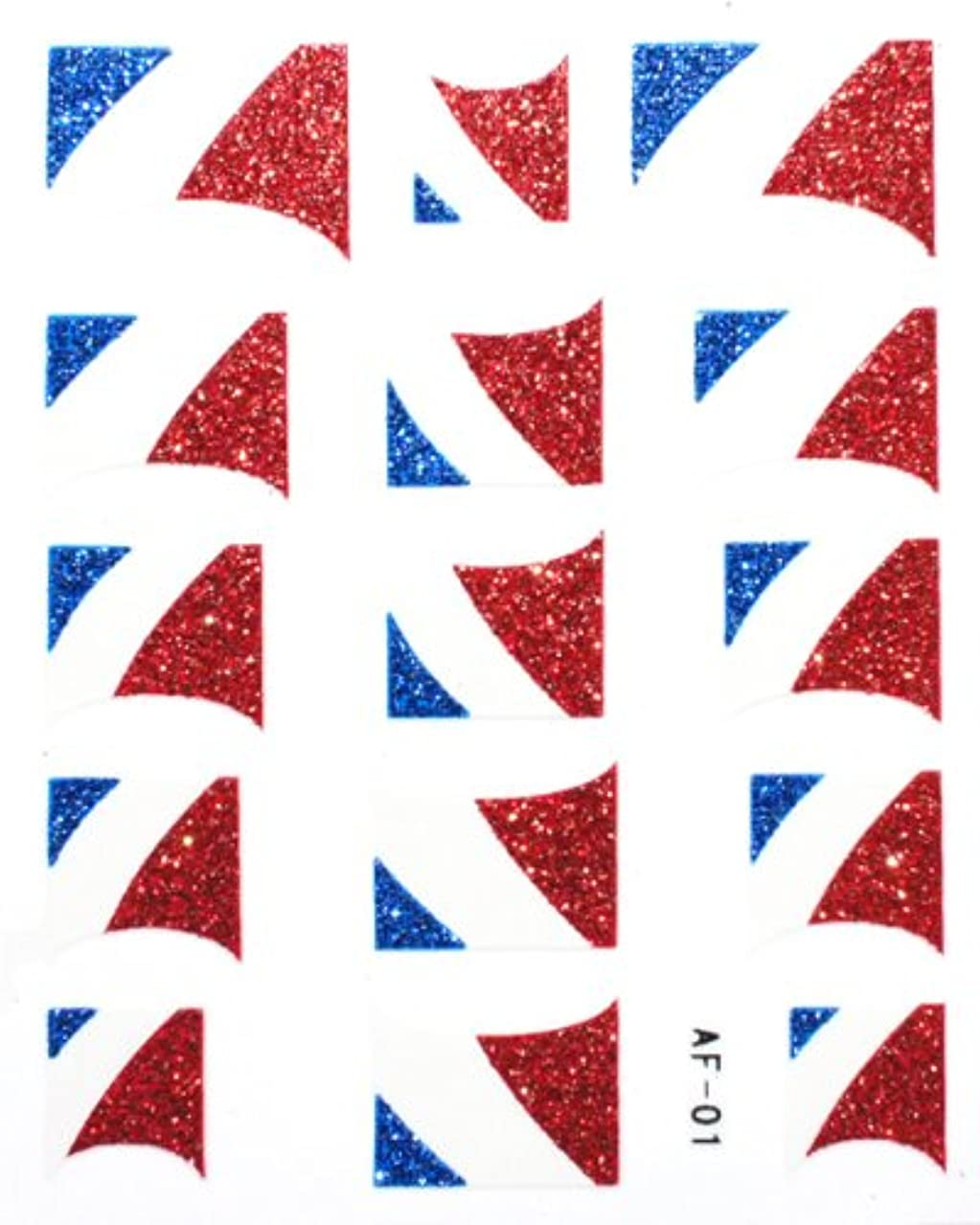 同行する多年生アルファベットきらきら逆フレンチネイルシール フランス国旗 AF01 貼るだけ ジェルネイルアート