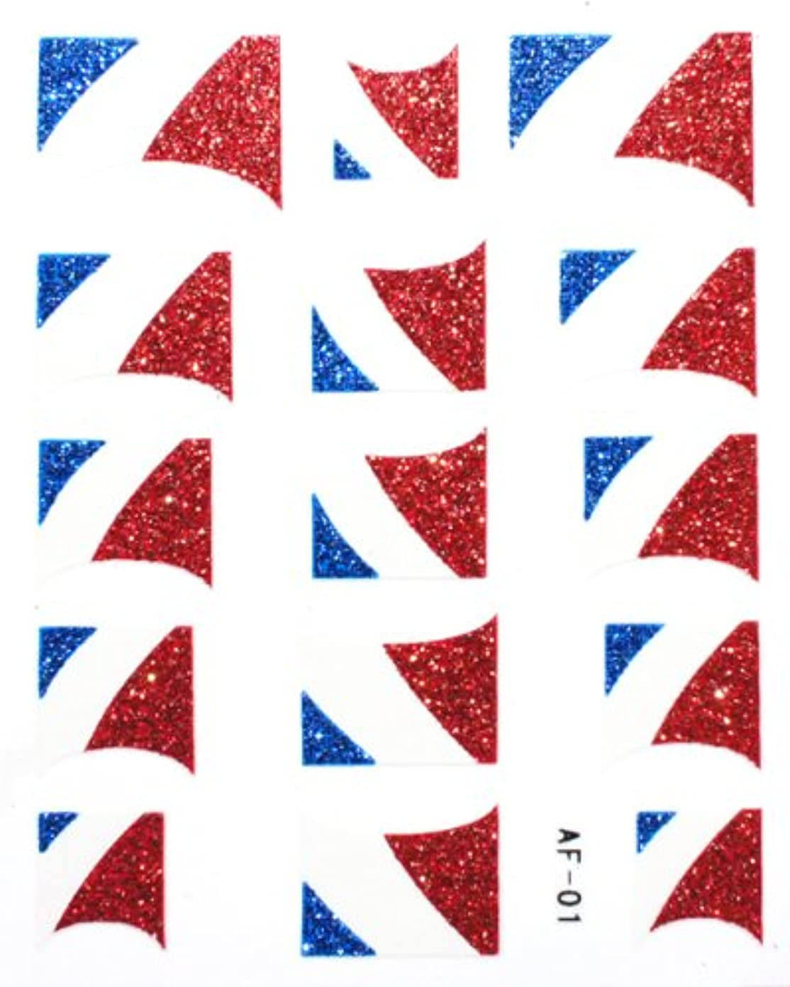 刺します繕う素晴らしいですきらきら逆フレンチネイルシール フランス国旗 AF01 貼るだけ ジェルネイルアート