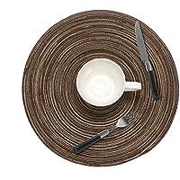 ランチョンマット4枚セット 手編み プレースマット 円形 テーブルマット 撥水 防汚 丸洗い お手入れ 簡単 滑り止め 摩擦 耐える 断熱 飾り 食卓 華やか 雰囲気 大人 子供 対応 家庭 レストラン 用 ブラウン