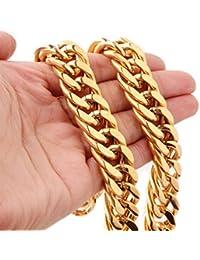 ゴールドメッキ16 mmステンレススチールキューバ縁石チェーンメンズネックレス18