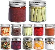ComSaf Glass Jar, Set of 12 Mason Jars with Airtight Metal Regular Lids(8oz/250ml), Sealed Clear Glass Canning