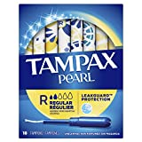 Tampax Pearl Plastic Unscented Regular Absorbency Tampons, 18ct