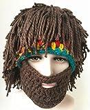 Micopuella ドレッドヘア ひげ 帽子 おもしろ 被り物 レゲエ あったか ぼうし