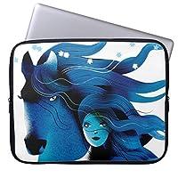 UDDESIGN青い馬および女の子 11.6インチ ラップトップスリーブ 撥水 ノートパソコンケース Microsoft 12.3 Surface Pro 4/ Apple 11 MacBook Air用