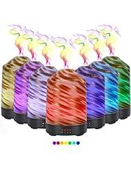 ディフューザーエッセンシャルオイル (100ml)-3 d アートガラス魚雨アロマ加湿器7色の変更 LED ライト & 4 タイマー設定、水なしの自動シャットオフ