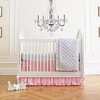 夏 幼児 4ピース クラシック 寝具セット 調節可能なベビーベッドスカート付き パリシアンピンク