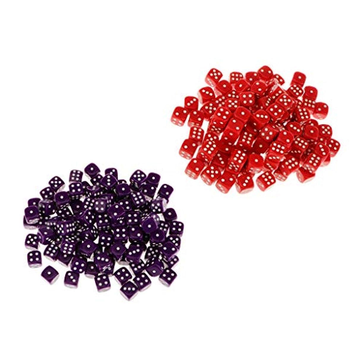 あなたは動く無効にする約100個 六面サイコロ  D6ダイス 12mm 紫 赤
