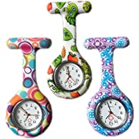 3 x Silicone Gel Nurses Fob Watch (Washable, Infection Free) Set - Round Bubble/Bug/Swirl