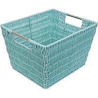 ホーム基本装飾織りプラスチックストレージ組織バスケットハンドル付き M ブルー PB47672